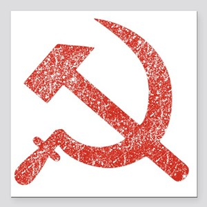"""Hammer and Sickle Red Sp Square Car Magnet 3"""" x 3"""""""