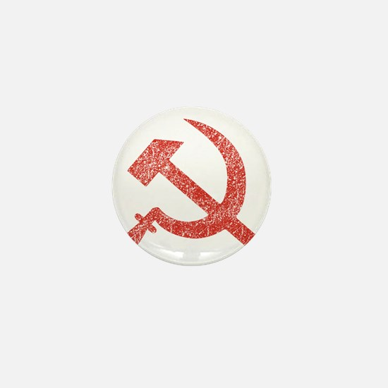 Hammer and Sickle Red Splatter Mini Button