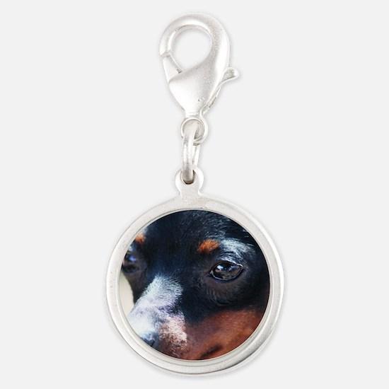 Miniature Pinscher Dog Silver Round Charm
