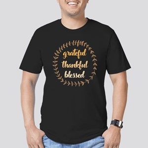 Grateful Thankful Bles Men's Fitted T-Shirt (dark)