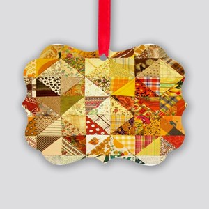 Fun Patchwork Quilt Picture Ornament