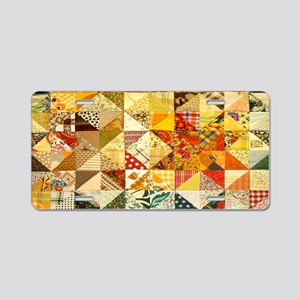Fun Patchwork Quilt Aluminum License Plate