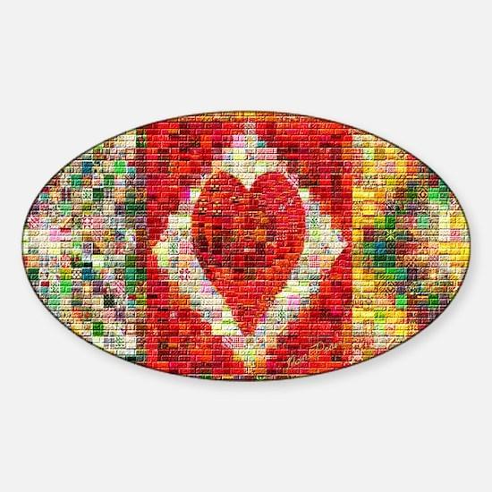 Heart Patchwork Lov... Sticker (Oval)