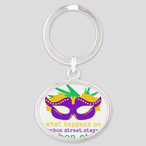 What Happens on Bourbon Street Oval Keychain