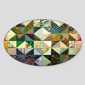 Fun Patchwork Quilt Sticker (Oval)