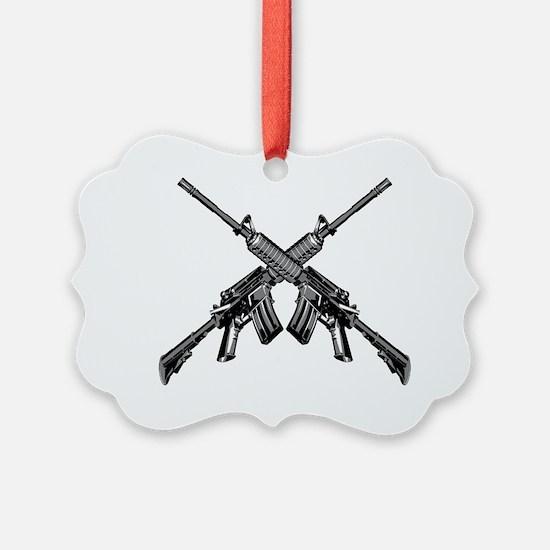 Crossed AR15 Rifles Ornament