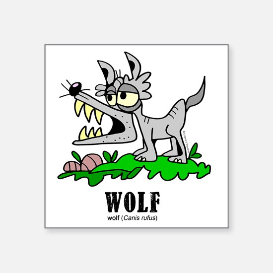 "Cartoon Wolf by Lorenzo Square Sticker 3"" x 3"""