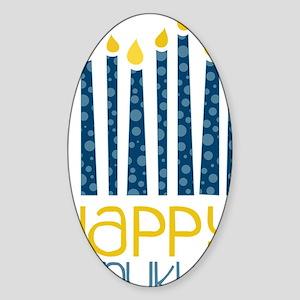 Happy Hanukkah Sticker (Oval)