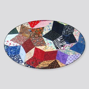 Tumbling Blocks Patchwork Quilt Sticker (Oval)