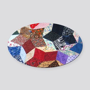 Tumbling Blocks Patchwork Quilt Oval Car Magnet