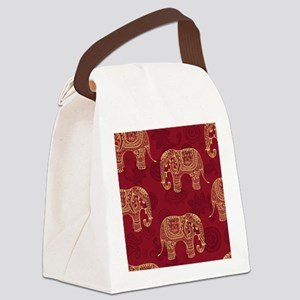 Beautiful Elephant Pattern Canvas Lunch Bag