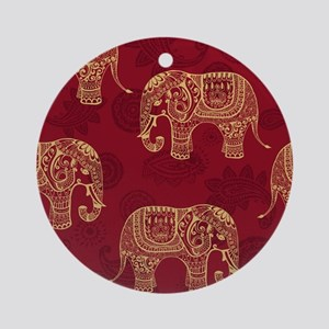 Beautiful Elephant Pattern Round Ornament