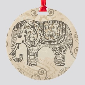 Vintage Elephant Round Ornament