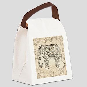 Vintage Elephant Canvas Lunch Bag