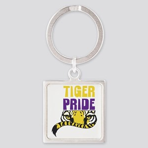 Geaux Tigers Square Keychain