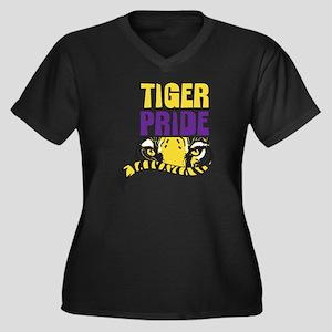 Geaux Tigers Women's Plus Size Dark V-Neck T-Shirt