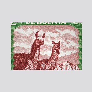 Antique 1939 Bolivia Llamas Posta Rectangle Magnet