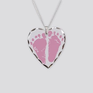 Pink Feet Necklace Heart Charm
