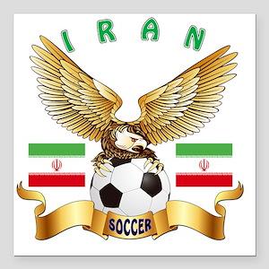 "Iran Football Designs Square Car Magnet 3"" x 3"""