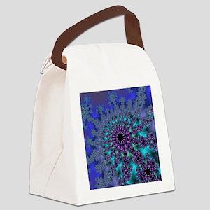 Peacock Fractal Canvas Lunch Bag