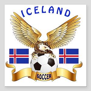 "Iceland Football Designs Square Car Magnet 3"" x 3"""