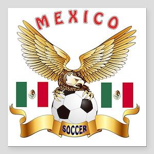 "Mexico Football Designs Square Car Magnet 3"" x 3"""