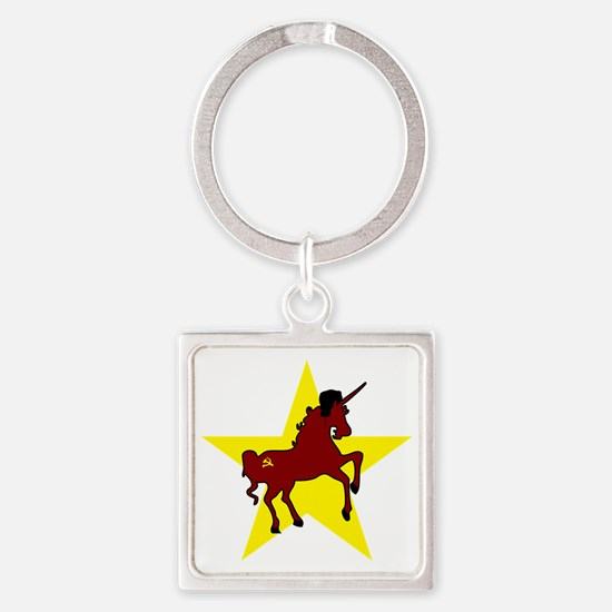 Russian Unicorn Square Keychain