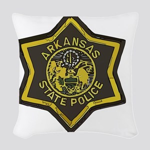Arkansas SP patch Woven Throw Pillow