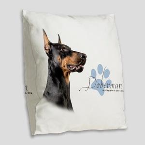 Doberman Burlap Throw Pillow