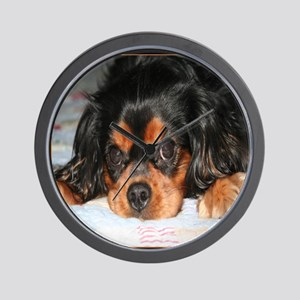 Puppy King Charles Spaniels Pillow Wall Clock