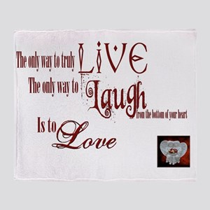 Live Laugh Love Sentiment Throw Blanket