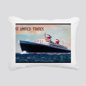 United States with Black Rectangular Canvas Pillow