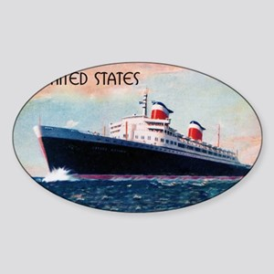 United States with Black Border Sticker (Oval)