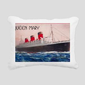 Queen Mary Red Border Rectangular Canvas Pillow