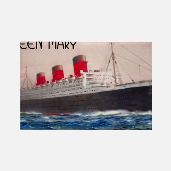 Queen Mary Red Border Rectangle Magnet