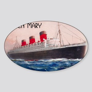 Queen Mary Red Border Sticker (Oval)