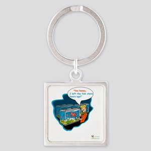 LTR - Left The Fish Store Hours Ag Square Keychain