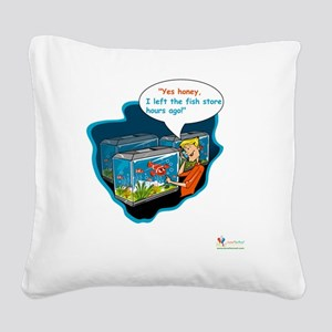 LTR - Left The Fish Store Hou Square Canvas Pillow