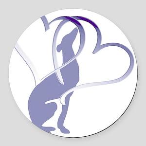 Greyhound Hearts Round Car Magnet