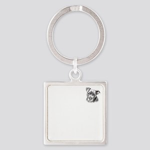 Save Dogs from Thugs Square Keychain