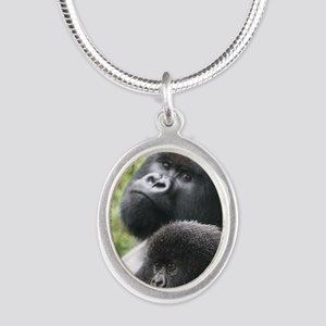 Mountain Gorilla Father  Son Silver Oval Necklace