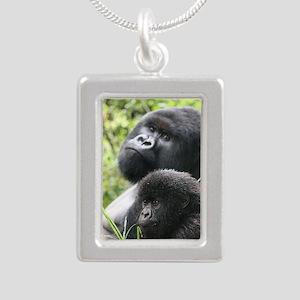 Mountain Gorilla Father  Silver Portrait Necklace