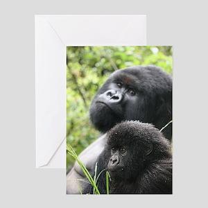 Mountain Gorilla Father  Son Greeting Card