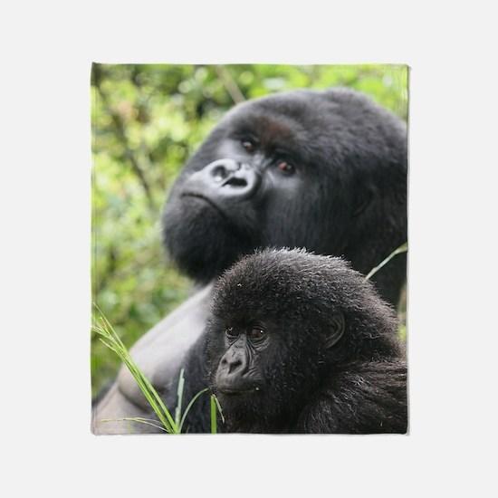 Mountain Gorilla Father  Son Throw Blanket