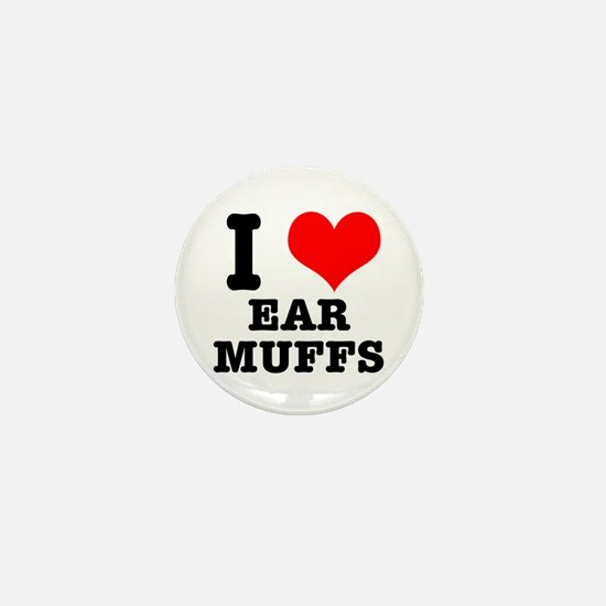 I Heart (Love) Ear Muffs Mini Button