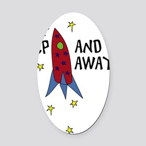 Up Up and Away Oval Car Magnet