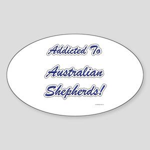 Australian Shepherd Addicted Oval Sticker