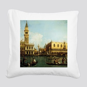 Canaletto The Pier Square Canvas Pillow