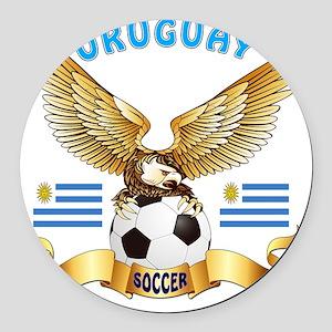 Uruguay Football Designs Round Car Magnet
