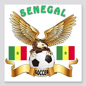"Senegal Football Designs Square Car Magnet 3"" x 3"""